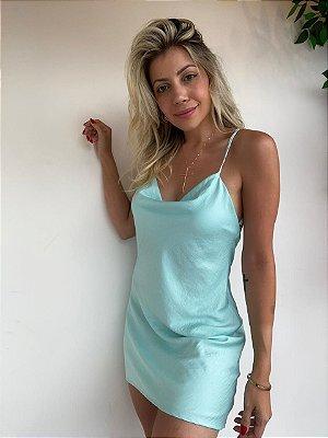 Slip Dress Curto Decote Isa Baldo Azul