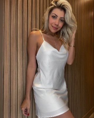 Slip Dress Curto Decote Isa Baldo Branco