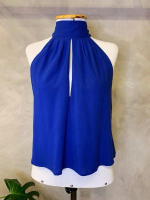 Bata Cava Entrada Decote Isa Baldo Azul Royal