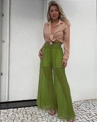 Calça Pantalona Plissada Isa Baldo Verde