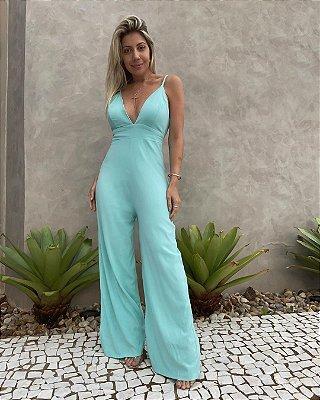 Macacão Pantalona Decote Isa Baldo Azul Piscina