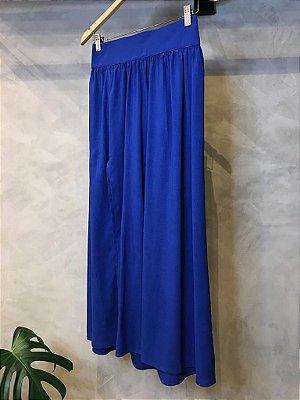 Saia Midi Fenda Viscolinho Isa Baldo Azul Royal