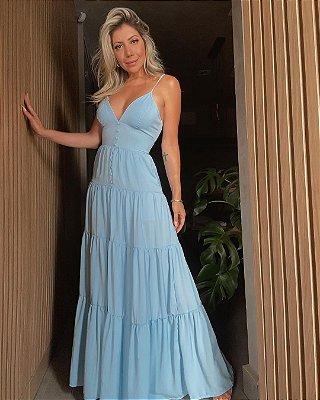 Vestido Longo Decote Isa Baldo Azul