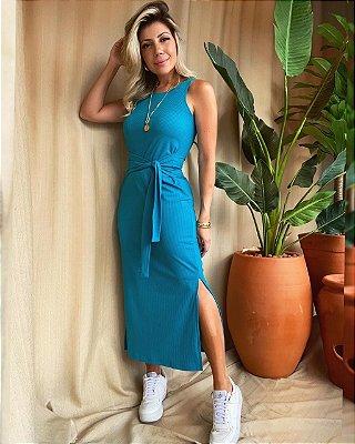 Vestido Midi Amarração Isa Baldo Azul