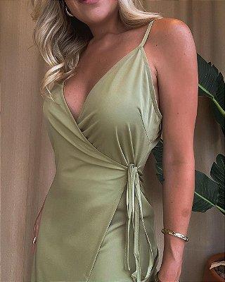 Vestido Decote Alcinha Isa Baldo Verde