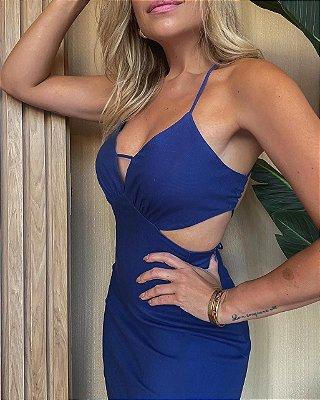 Vestido Curto Decote Isa Baldo Azul