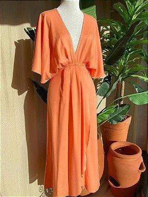 Vestido Midi Transpassado Isa Baldo Coral