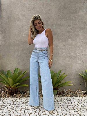 Calça Jeans Pantalona Isa Baldo