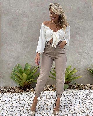 Calça Jeans Mom Isa Baldo Caqui