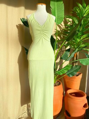 Vestido Midi Canelado Isa Baldo Verde Menta