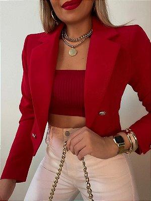 Blazer Cropped Vermelho