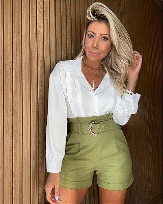 Shorts Alfaiataria Linho Isa Baldo Verde