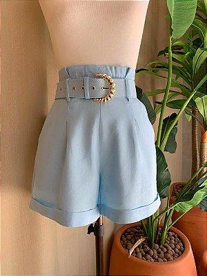 Shorts Alfaiataria Linho Isa Baldo Azul