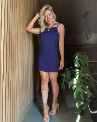 Vestido Decote Isa Baldo Azul