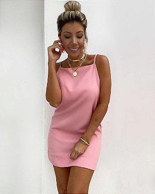Vestido Decote Isa Baldo Rosa
