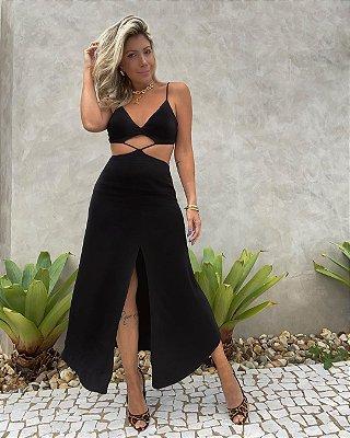 Vestido Midi Recortes Isa Baldo Preto