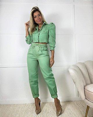 Calça Jeans Clochard Isa Baldo Verde