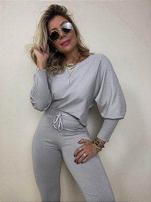 Conjunto Tricot Modal Isa Baldo Cinza