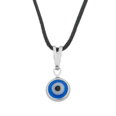 Gargantilha com Olho Grego 8 mm_R_ no Cordão