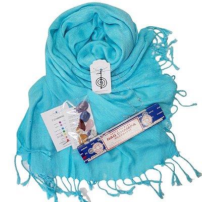 """""""KIT  5º CHAKRA"""" (pashmina azul turquesa + gargatilha cho-ku-rei com strass chakras + pedras dos 7 chakras média de 2 a 4cm + incenso nag shampa"""