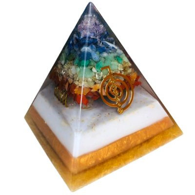 Orgonite dos 7 Chakras com Cristal Lemuriano e Cho Ku Rei - Base 10cm x 11cm Altura