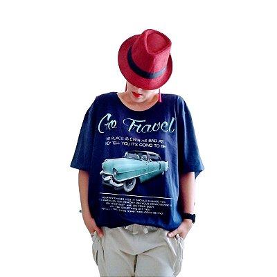 Camiseta carro azul marinho