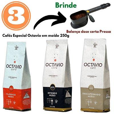 3 Cafés Octavio MOÍDO 250g (Clássico + Intenso + Descafeinado) + Brinde 1 Balança dosadora Pressca