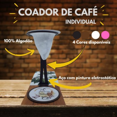 Coador de café Individual com filtro de pano (Suporte preto)