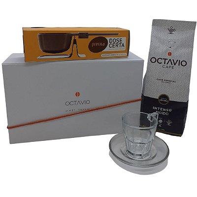 Kit Exclusivo Octavio Intenso moído 250g + Balança dose certa  + uma Xícara com pires 70 ml