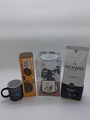 Caixa Presente C/ Coador de Café Indivual + Café Moído Intenso 250g + Balança + Caneca Fusca 140ml