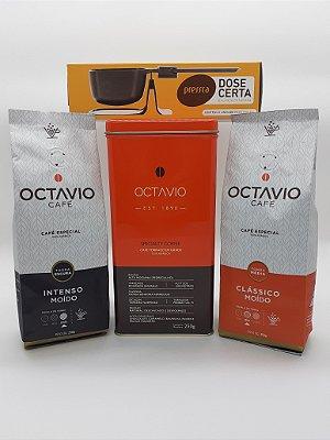 Kit C/  2 Cafés Octavio Moído 250g Clássico e Intenso + Balança dose certa (Brinde Lata Octavio)