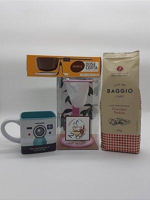 Kit C/ Coador de café Rosa + Balança dose certa + Café Baggio Chocolate trufado + Caneca registro verde