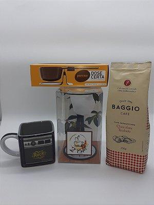 Kit C/ Coador de café preto + Balança dose certa preta + Café Baggio Chocolate trufado + Caneca rock