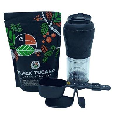 Kit Black com Café Tucano moído 250g + Cafeteira Pressca Preto Ebano 350ml + Balança dosadora