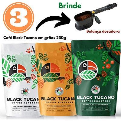 3 Cafés Black Tucano em grãos 250g + brinde (Balança dose certa Pressca)