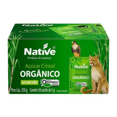 Açúcar Cristal Orgânico Native 50 Sachês de 5 gramas