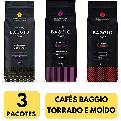 3 Cafés Baggio moído 250g (Bourbon - Caffé - Espresso)