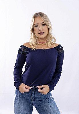 Blusa Up Side Wear Ombro a Ombro com detalhe em renda Azul Marinho