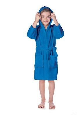 Roupão Com Capuz Soft Flannel Fleece Infantil Menino Azul - Lepper