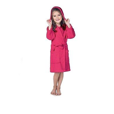 Roupão Kimono Rosa Com Capuz Menina Super Soft Fleece Lepper