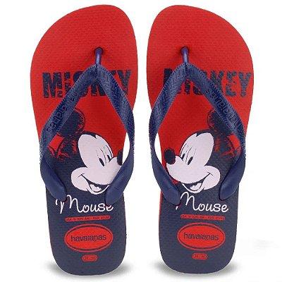 Chinelo Tiras Top Disney Mickey Mouse Havaianas - Vermelho Azul