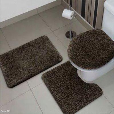 Jogo de Tapete de Banheiro Antiderrapante Blend com 3 peças Jolitex