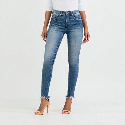 Calça Skinny Cropped Levanta Bumbum Chapa Barriga Jeans Médio Lunender