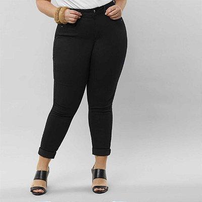 Calça Skinny Plus com Elastano Chapa Barriga Preto Reativo Lunender
