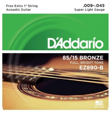 Encordoamento D'Addario Aço EZ890-B 85/15 - Super Light 009 - 045