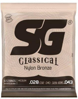 Encordoamento SG Strings Classical Nylon - Medium 028 - 043 Com Bolinha