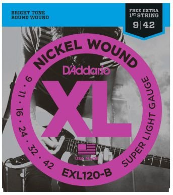 Encordoamento D'Addario Guitarra EXL120-B Nickel Wound - Super Light 009 - 042