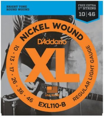 Encordoamento D'Addario Guitarra EXL110-B Nickel Wound - Regular Light 010 - 046