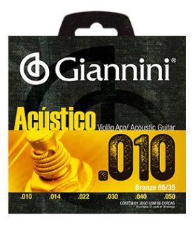 Encordoamento Giannini Violão Aço Acústico - Medium 010 - 050