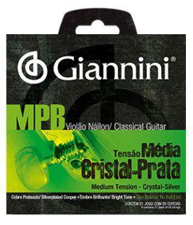 Encordoamento Giannini Violão Nylon MPB Cristal Prata - Média Sem Bolinha